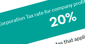 Extreme close-up of a screenshot from a page on HMRC website outlining the corporation tax rate for limited companies in white font over a light green background.