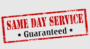 A red, military-style stamp mark that reads: SAME DAY SERVICE * Guaranteed *.
